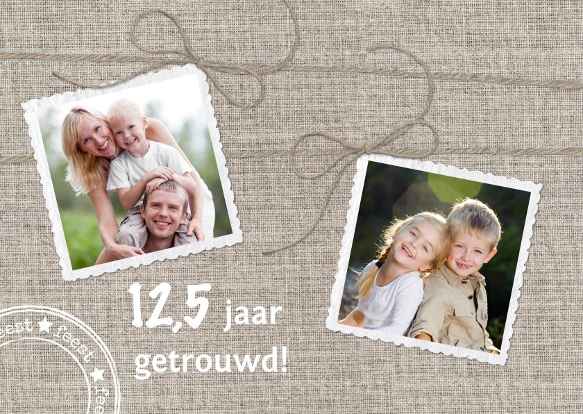 Jubileumkaarten - Uitnodiging Jubileum Linnen Twee Fotos L