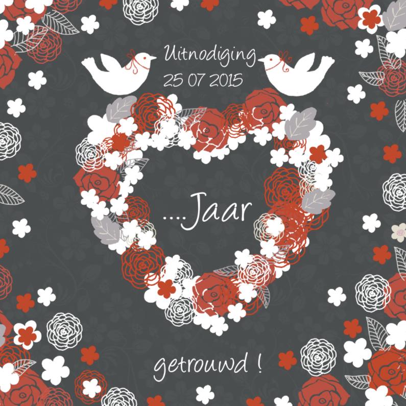 Jubileumkaarten - uitnodiging jubileum met hart en duifjes