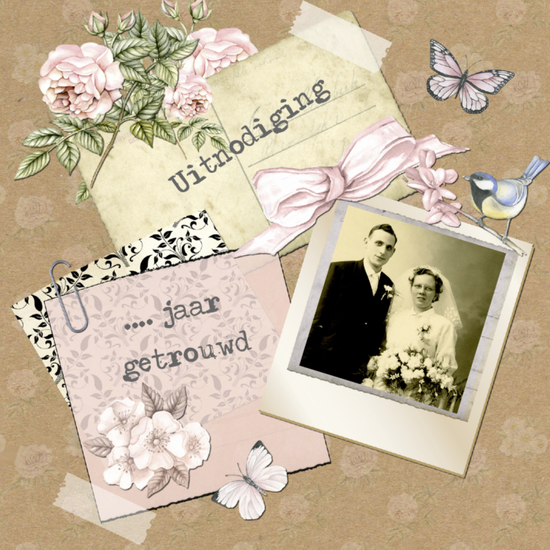 Jubileumkaarten - uitnodiging jubileum  postcard vintage
