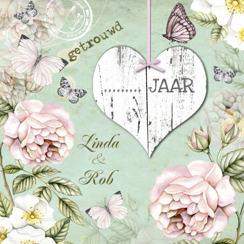 Jubileumkaarten - uitnodiging jubileum trouwdag vintage