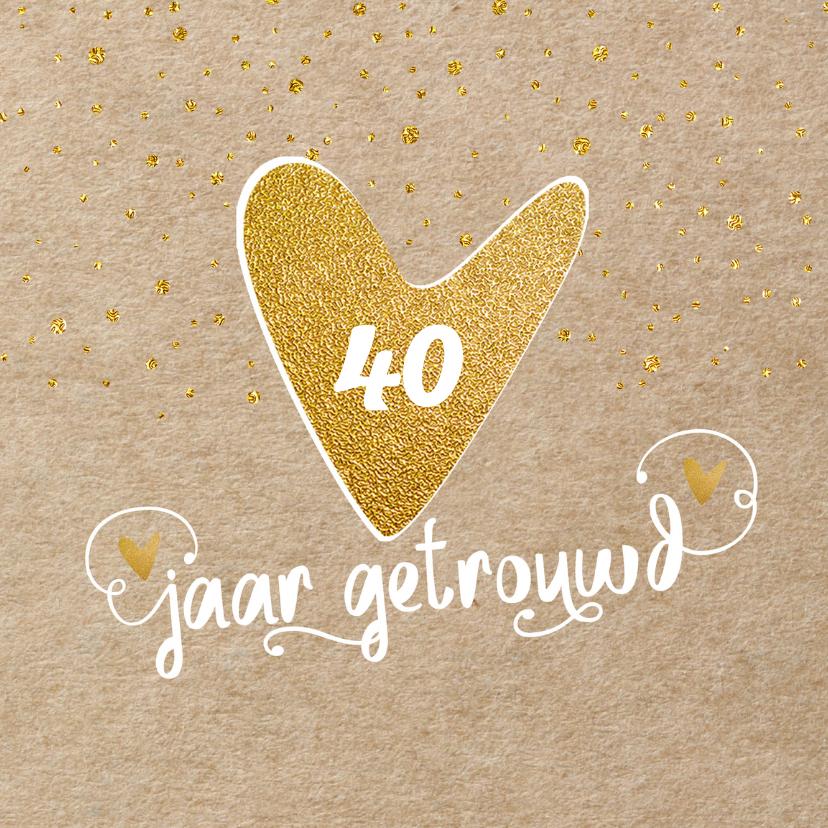 Jubileumkaarten - Uitnodiging kraft confetti - LO