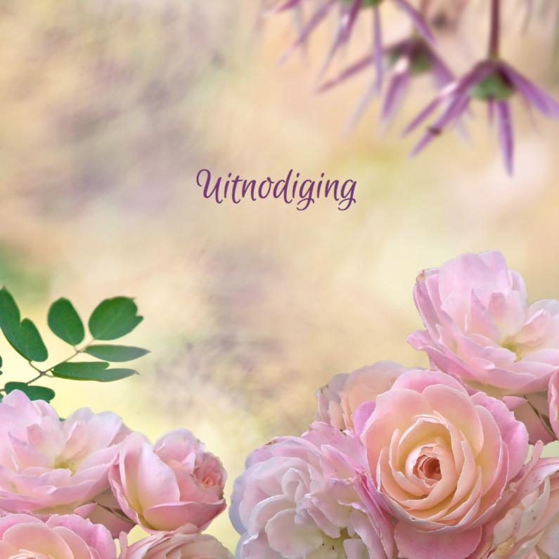 Jubileumkaarten - Uitnodiging met rozen