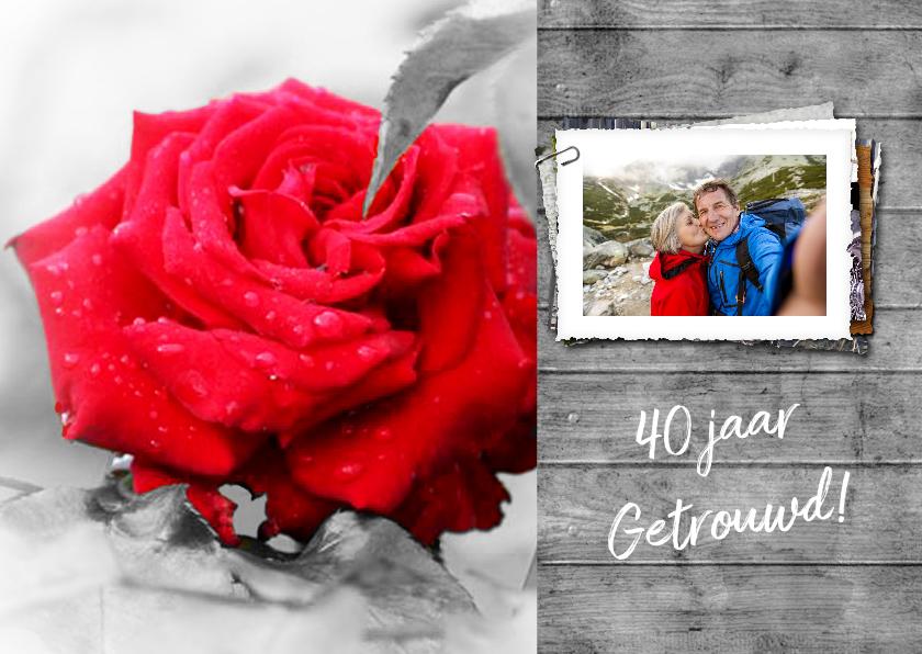 Jubileumkaarten - Uitnodiging roos en hout