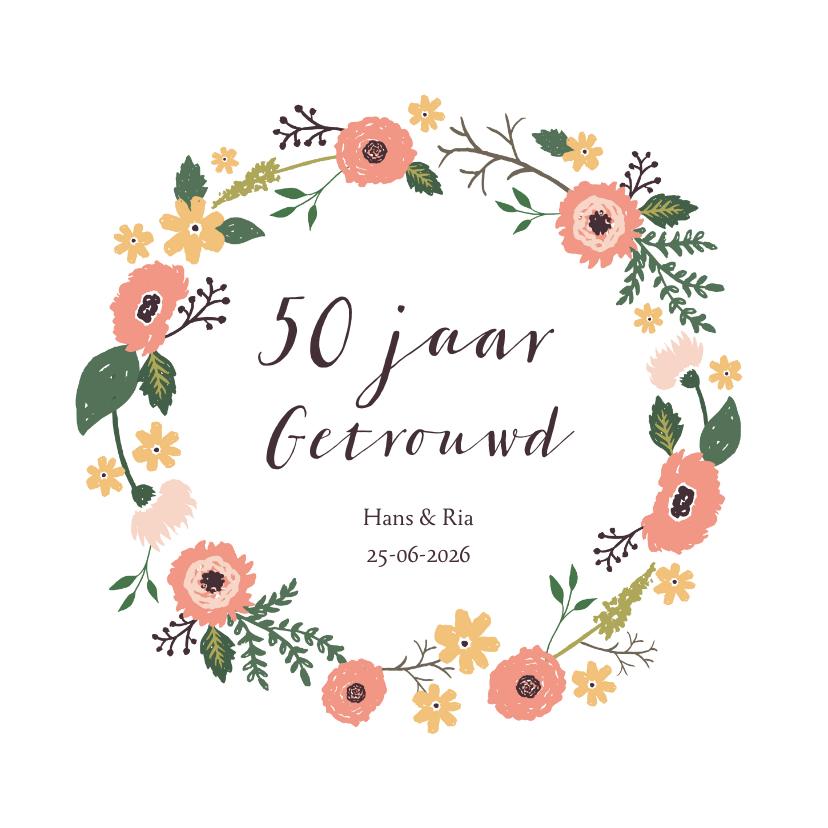 Jubileumkaarten - Uitnodiging vijftig jarig huwelijks jubileum bloemen