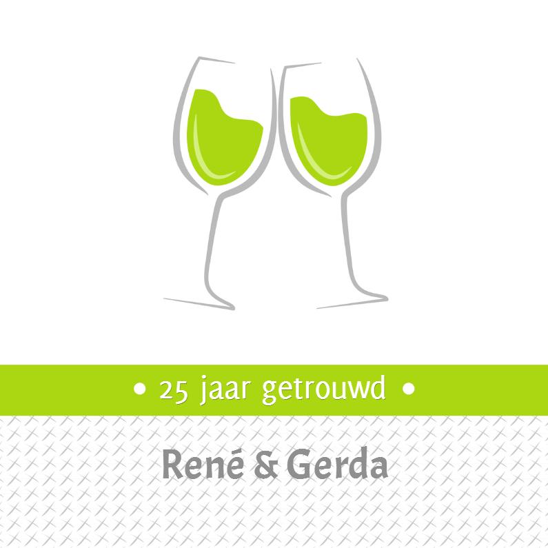 Jubileumkaarten - Uitnodiging wijnglazen - SZ