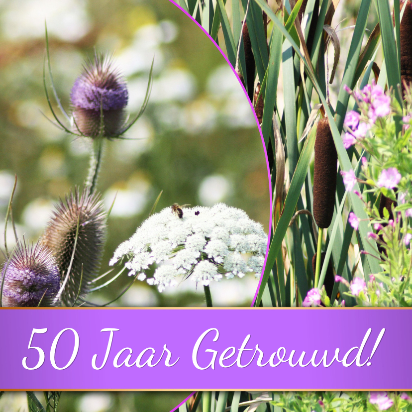 Jubileumkaarten - violet bloemen zelf invullen