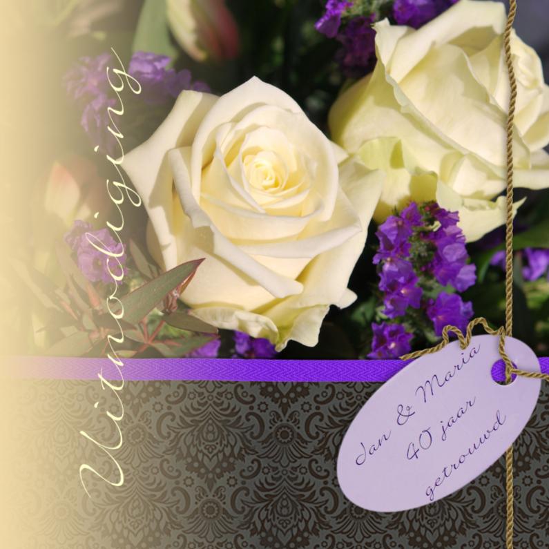 Jubileumkaarten - Witte rozen met paars zwart