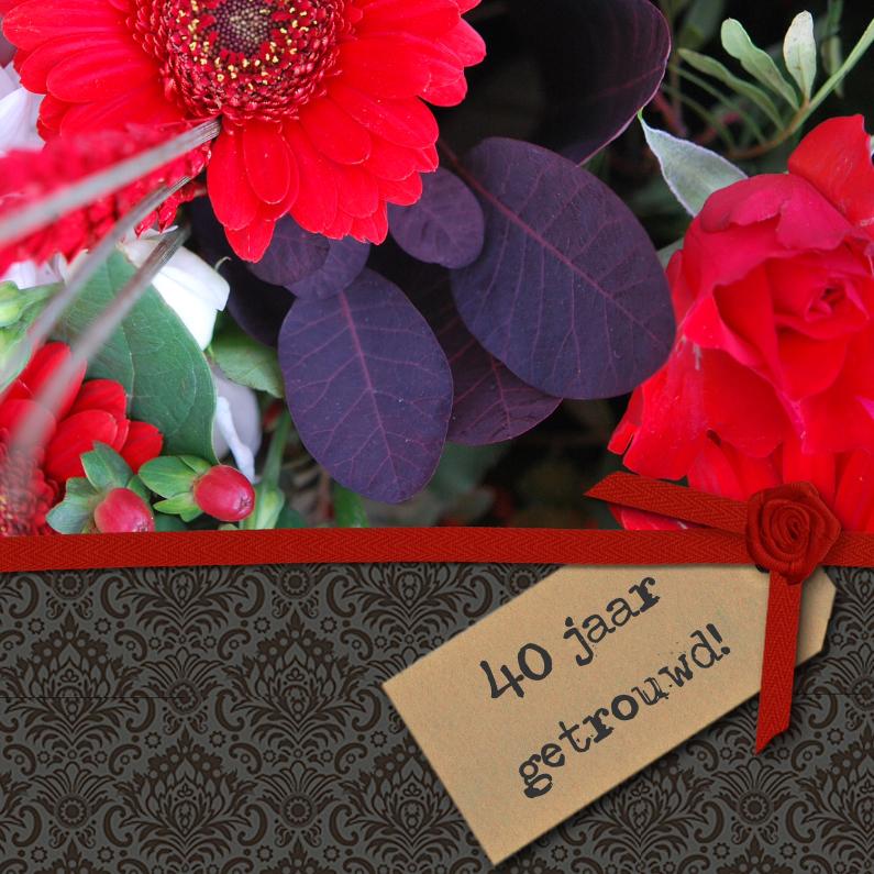 Jubileumkaarten - Zwart structuur label foto bloem