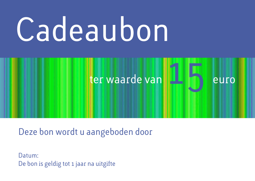 Kaarten mailing - Cadeaubon blauw groen liggend