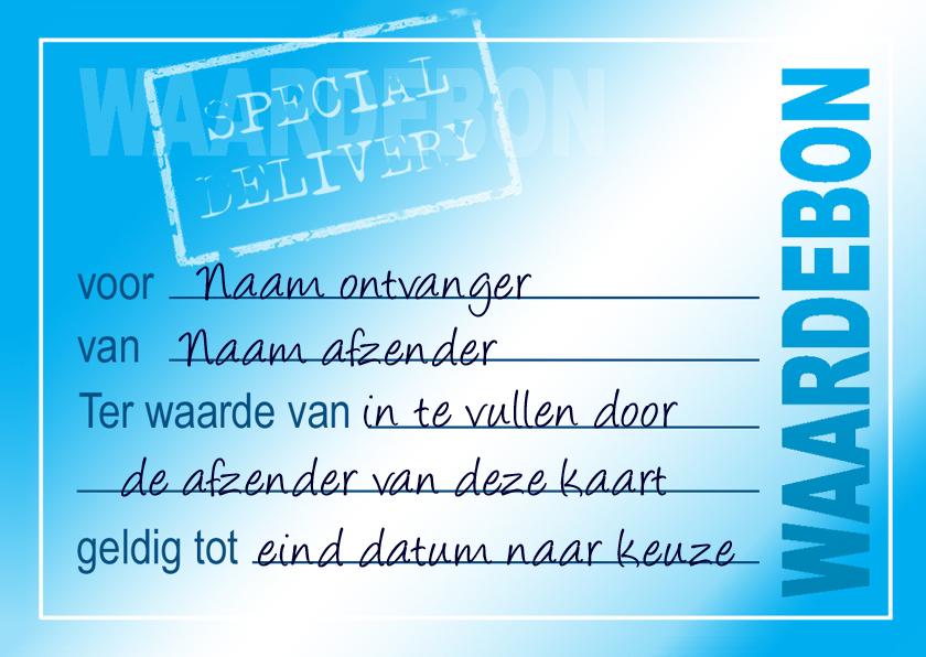 Kaarten mailing - Wenskaart Waardebon Blue