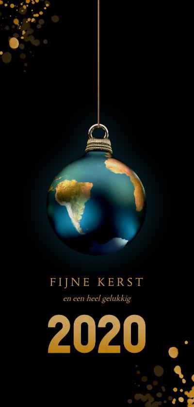 Kerstkaarten - Aarde als kerstbal 2020 zwart en goud