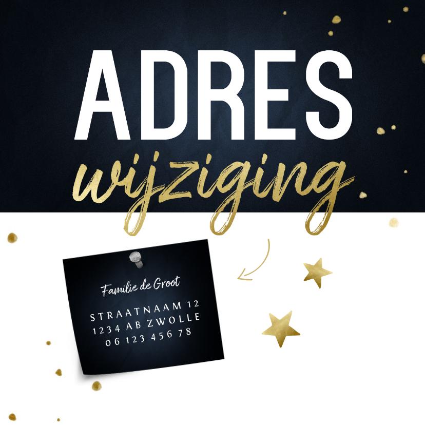 Kerstkaarten - Adreswijziging kerstkaart met sterren en papiertje
