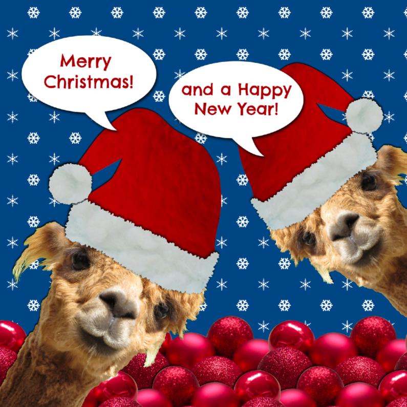 Kerstkaarten - Alpaca tweeling viert Kerstmis