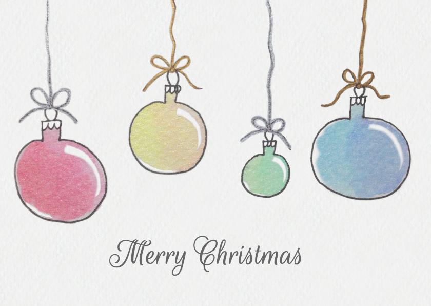 Kerstkaarten - Aquarel kerstballen