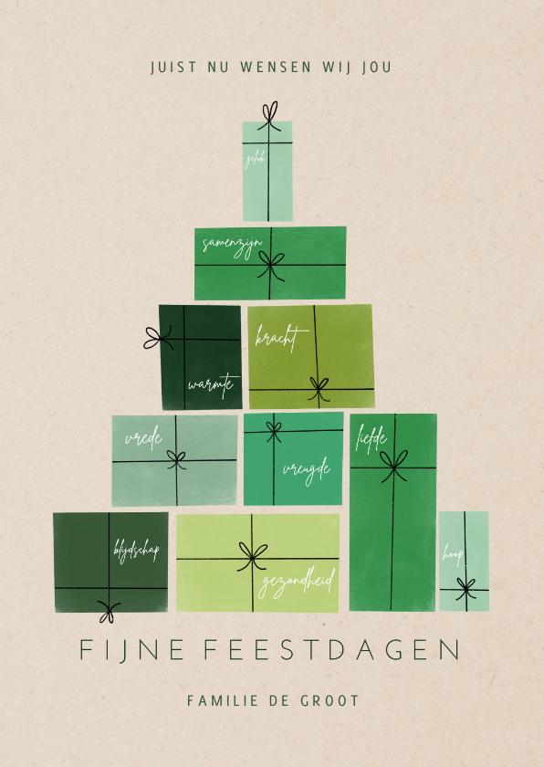 Kerstkaarten - Bemoedigende kerstkaart met groene cadeau's als kerstboom