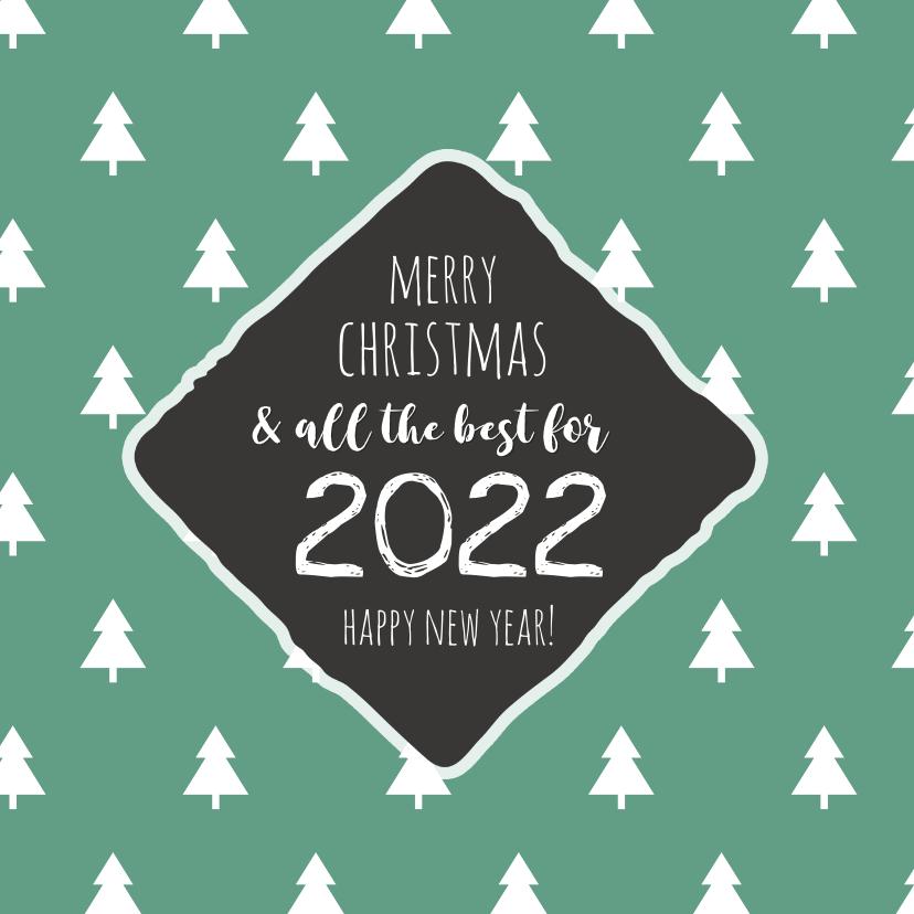 Kerstkaarten - Best wishes groene kerstbomen 2020