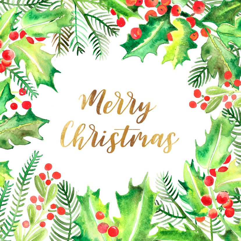 Kerstkaarten - Botanische kerstkaart hulstblaadjes