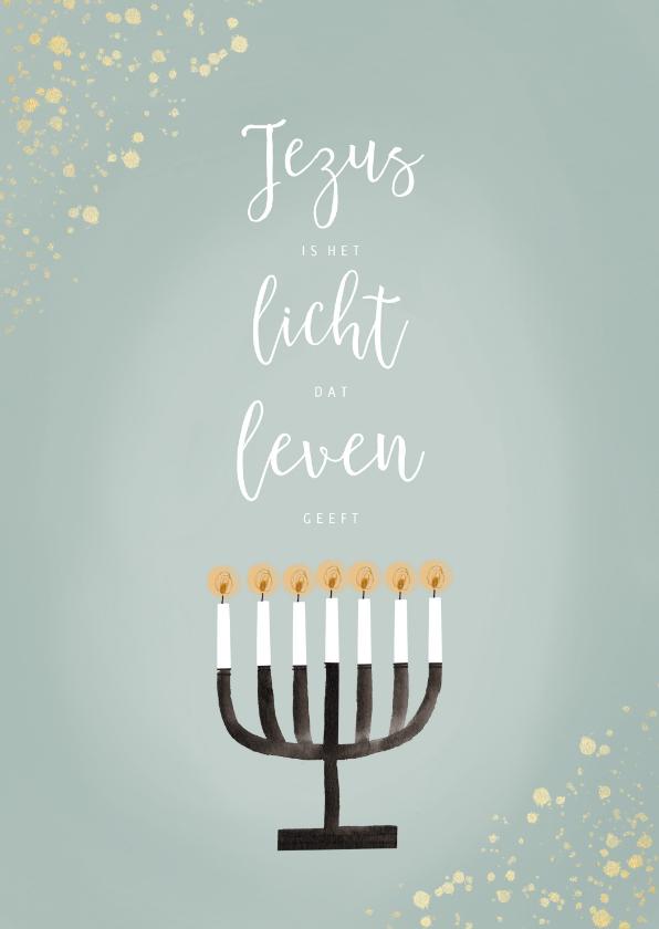 Kerstkaarten - Christelijke kerstkaart Jezus Licht Leven Menorah en goud