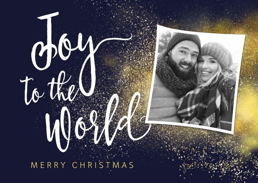 Kerstkaarten - Christelijke kerstkaart Joy to the World met foto