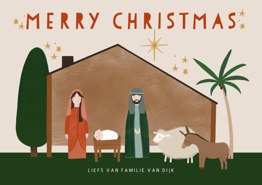 Kerstkaarten - Christelijke kerstkaart kerststal en dieren merry christmas