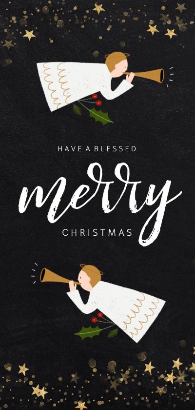 Kerstkaarten - Christelijke kerstkaart met engeltjes en gouden sterren