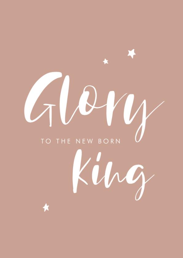 Kerstkaarten - Christelijke kerstkaart met handlettering Glory to the King