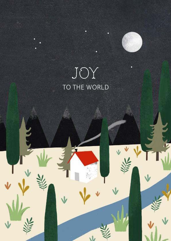 Kerstkaarten - Christelijke kerstkaart met planten en huisje illustratie