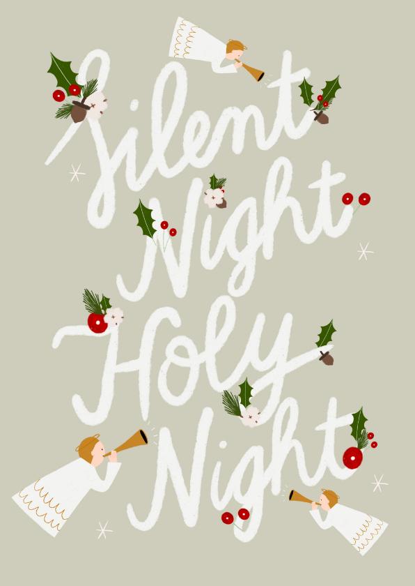 Kerstkaarten - Christelijke kerstkaart met typografie en illustraties