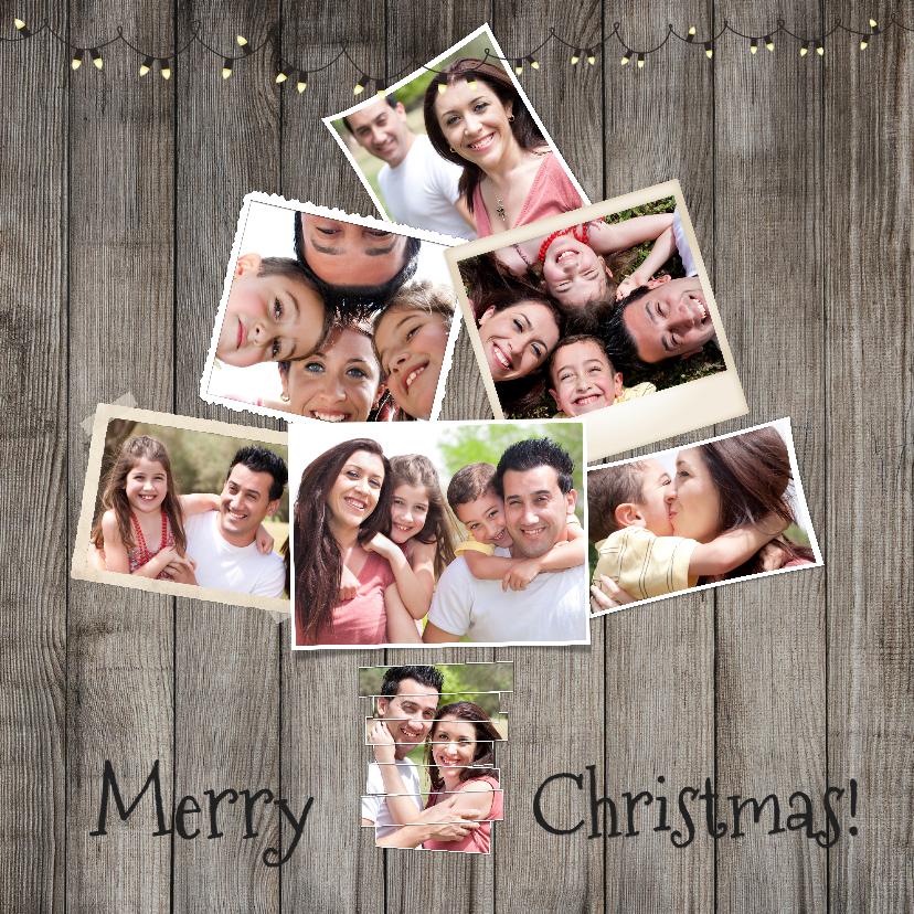 Kerstkaarten - Collage hout kerst 8 foto's - BK