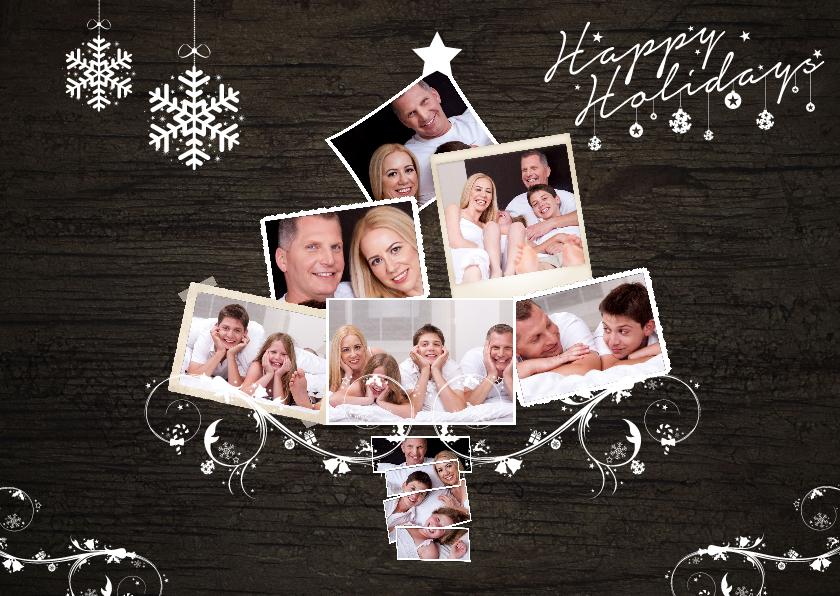 Kerstkaarten - Collage kerstboom hout