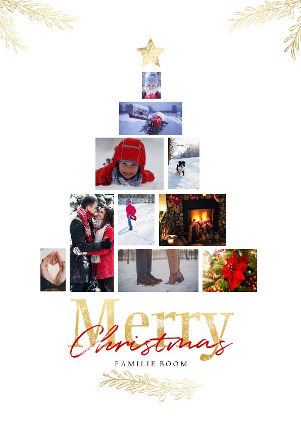 Kerstkaarten - Collage kerstboom wit rechthoekig voor 10 foto's