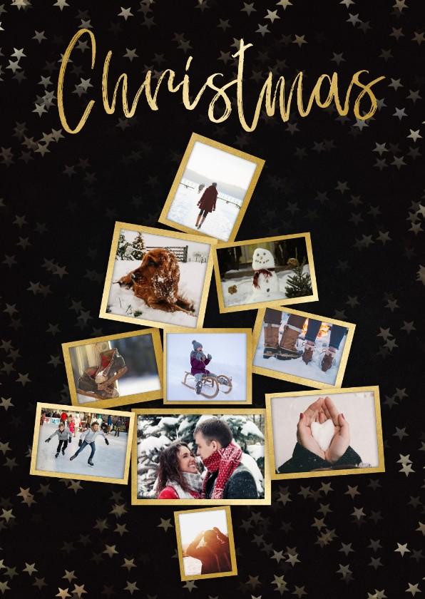 Kerstkaarten - Collage kerstkaart kerstboom zwart en goud voor 10 foto's