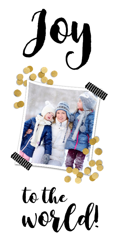 Kerstkaarten - Confetti goud en 2 foto's - BK