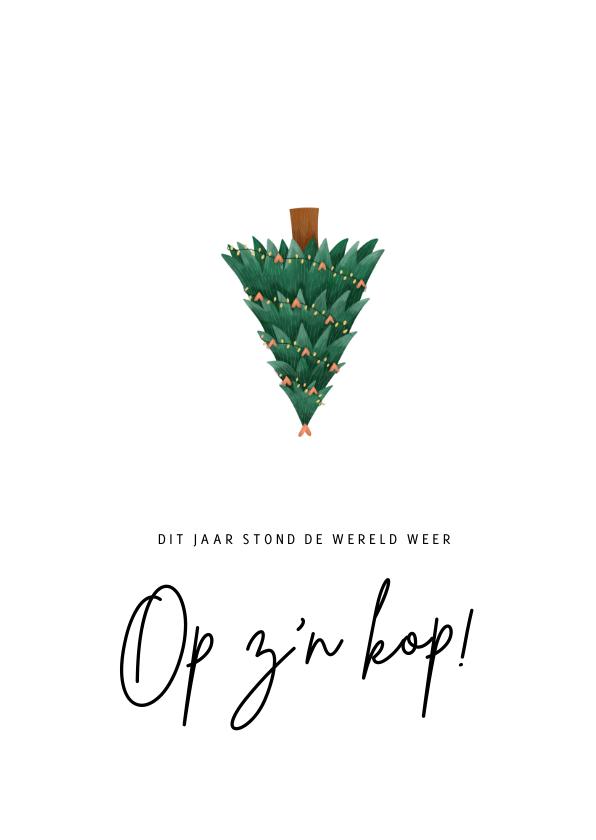 Kerstkaarten - Corona kerstkaart - De wereld op z'n kop kerstboom