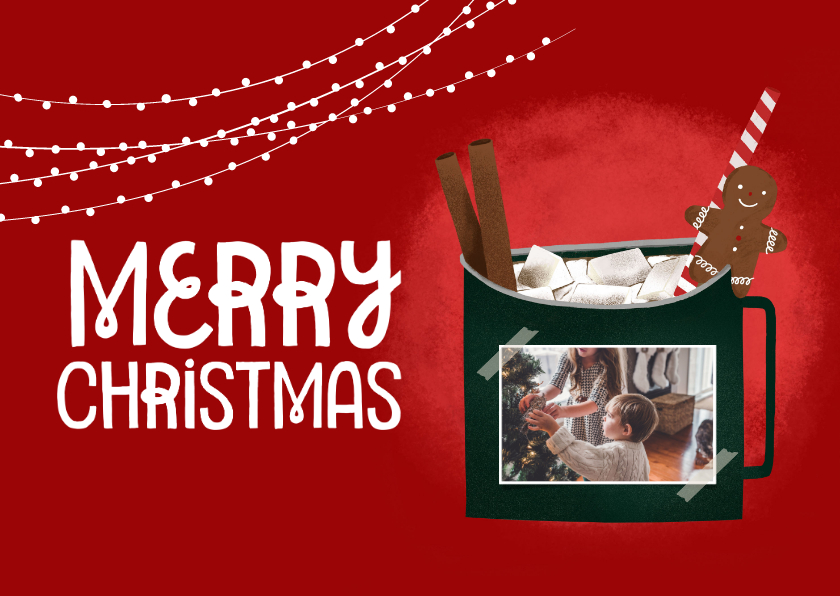 Kerstkaarten - Cozy kerstkaart met foto en illustratie