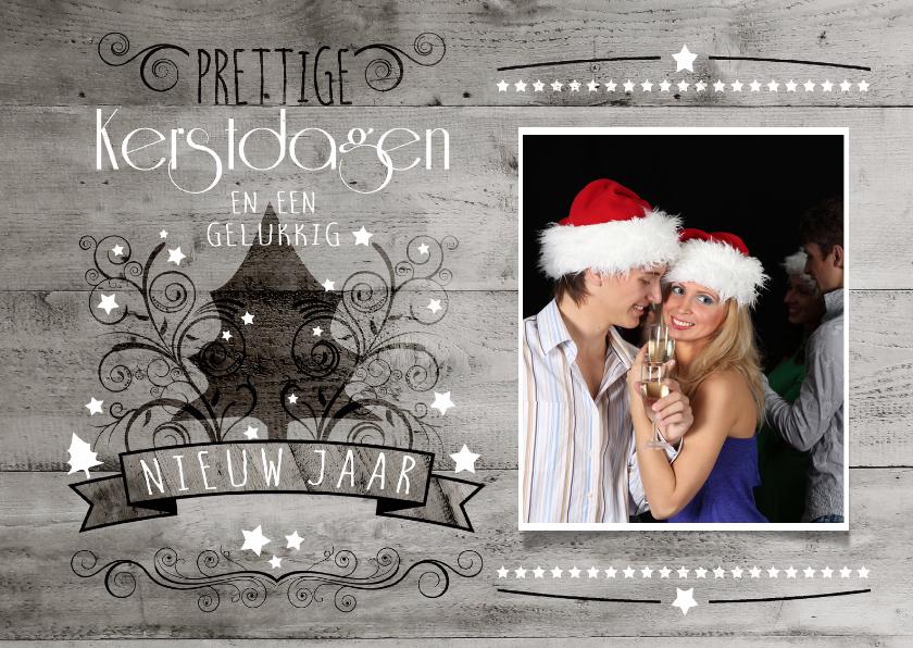 Kerstkaarten - Decoratief Hout Foto Groot - BK