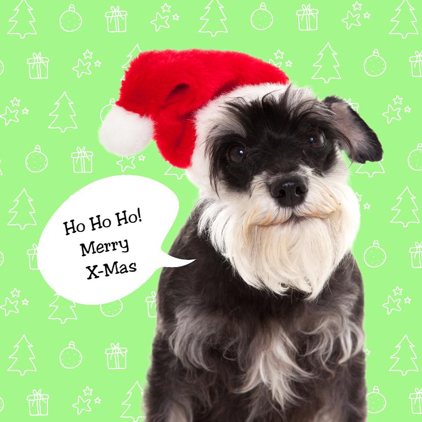 Kerstkaarten - Dieren kerstkaart - Santa Dog