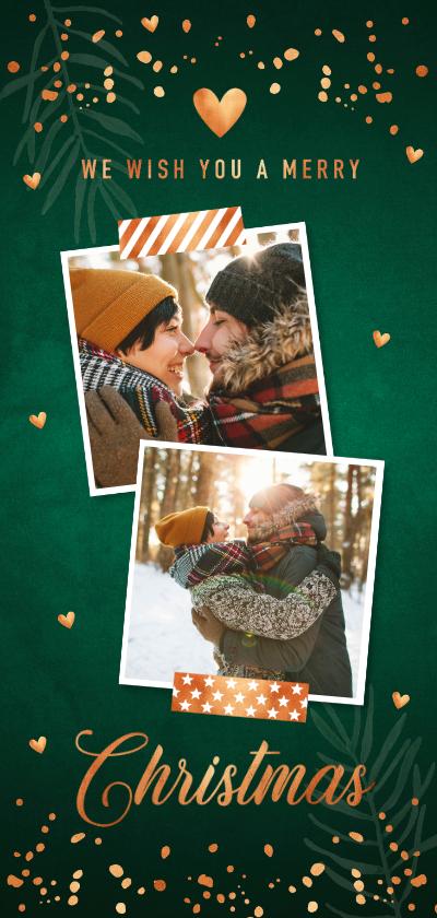 Kerstkaarten - Donkergroene kerstkaart foto confetti koper