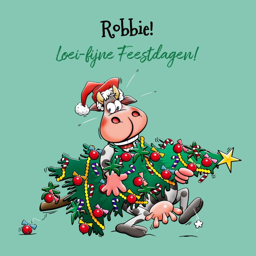 Kerstkaarten - Een grappige kerstkaart met koe en kerstboom