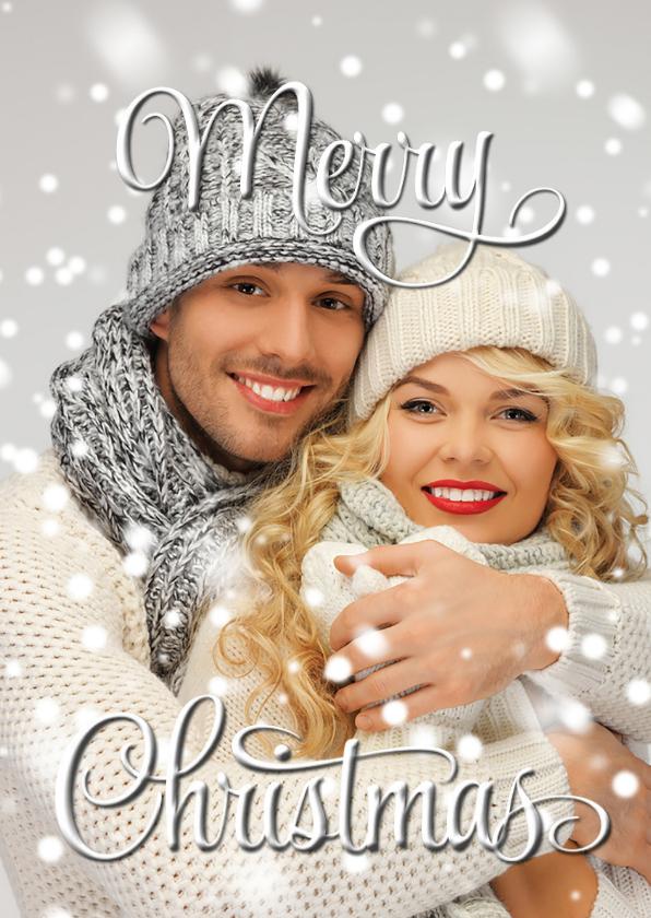 Kerstkaarten - Eigen foto Merry Christmas wit - binnen fotocollage 2019