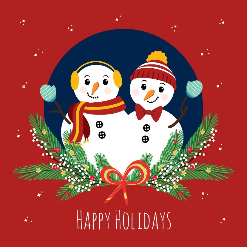Kerstkaarten - Feestdagen kaartje met 2 vrolijke sneeuwpoppen