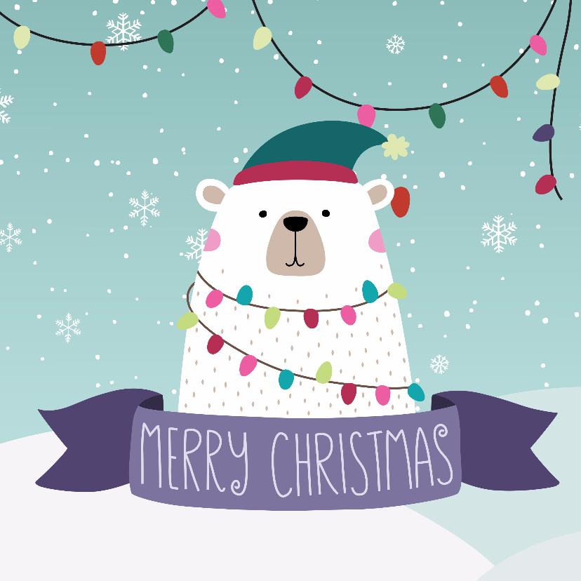 Kerstkaarten - Feestelijke ijsbeer met kerstgroet