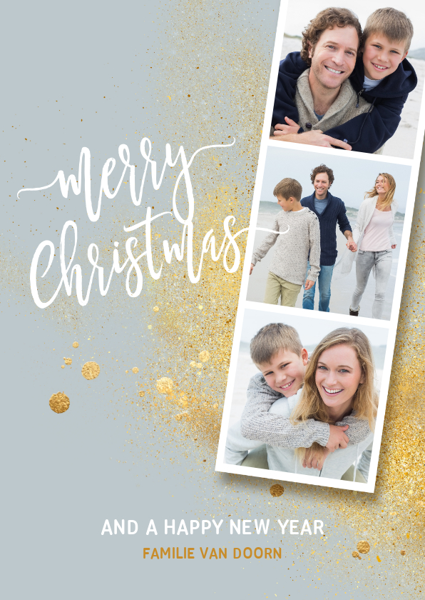 Kerstkaarten - Foto collage kerstkaart strip goud splash