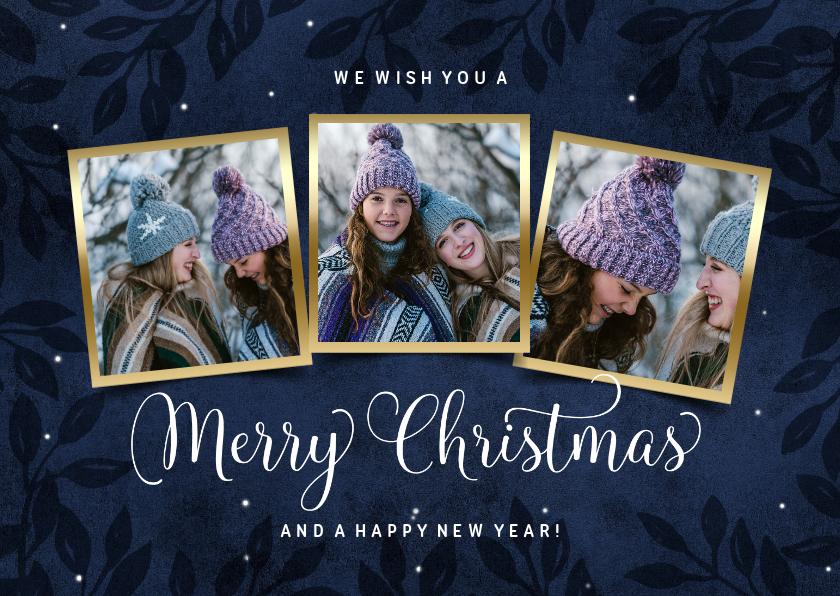 Kerstkaarten - Foto kerstkaart 3 fotos blauw goud