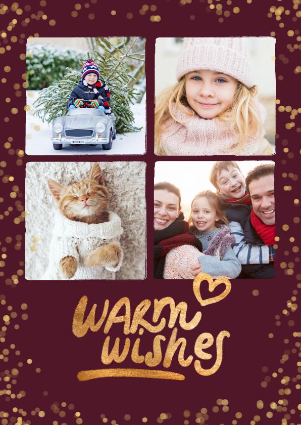 Kerstkaarten - Foto kerstkaart 4 foto's 'Warm wishes'