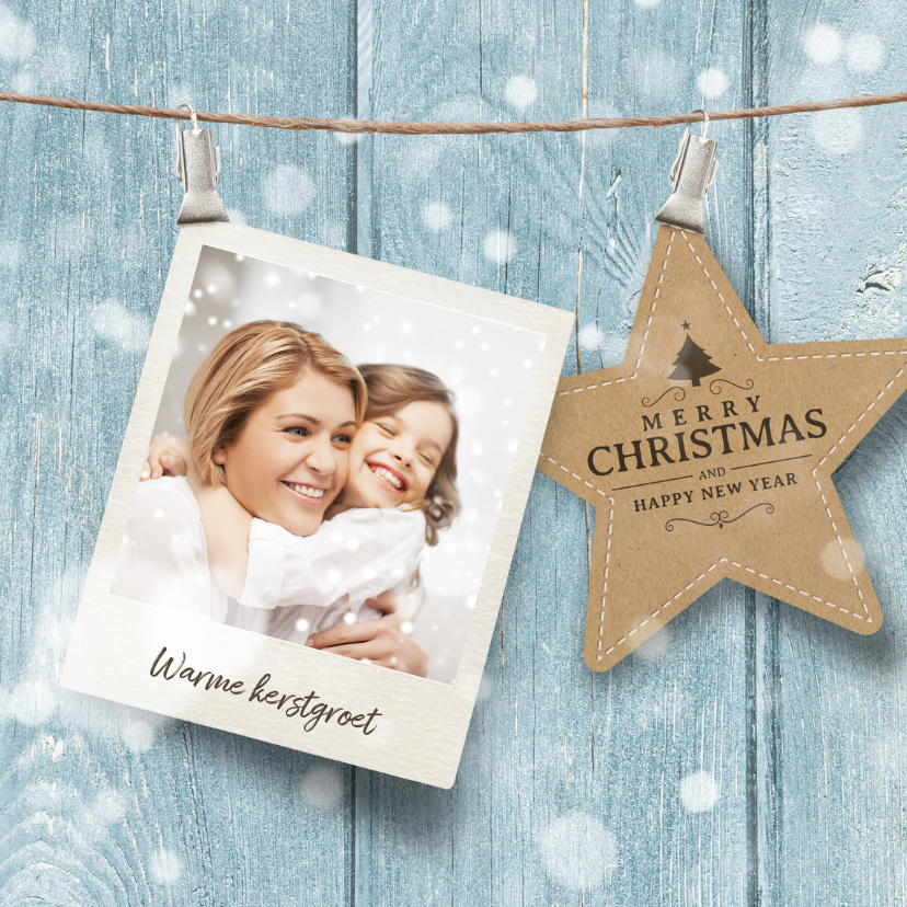 Kerstkaarten - Foto kerstkaart blauw ster