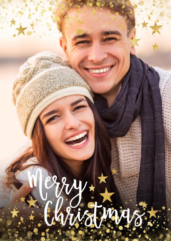 Kerstkaarten - Foto kerstkaart met gouden confetti en typografie