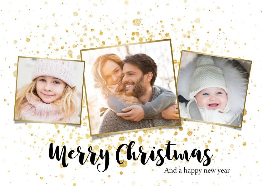 Kerstkaarten - Foto kerstkaart met gouden spetters en typografie