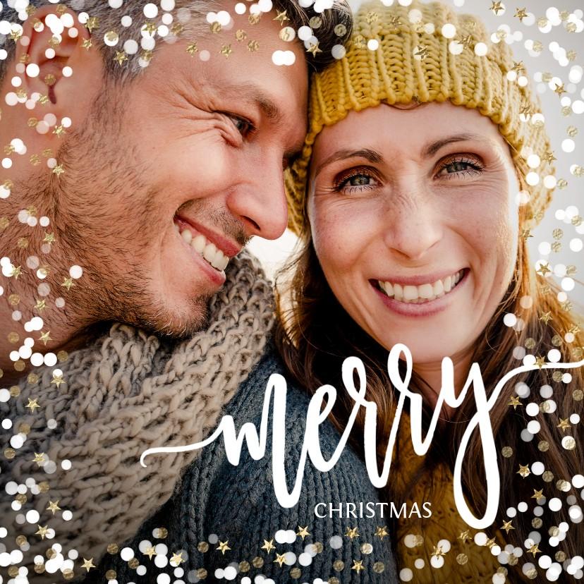 Kerstkaarten - Foto kerstkaart sneeuw confetti en gouden sterretjes