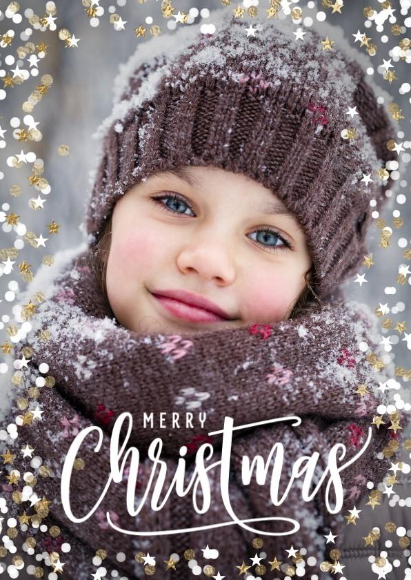 Kerstkaarten - Foto kerstkaart sterretjes dots